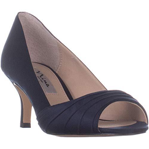 NINA Chezare Peep Toe Heels, New Navy Luster, 6.5 US ()