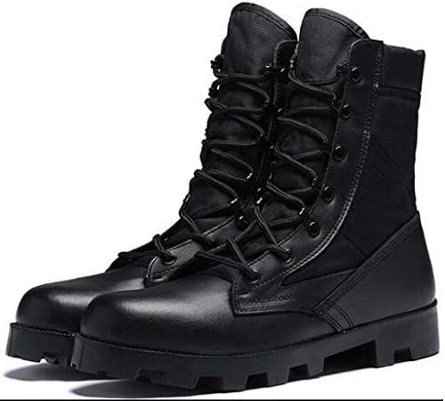 男性のための戦術的なブーツ、軍の戦術的なブーツハイトップレースアップスタイルハイトラクショングリップスエードレザーMicrosuedeリッジ丈夫なアウトドアスポーツスタイル (色 : 黒, サイズ : 24.5 CM)