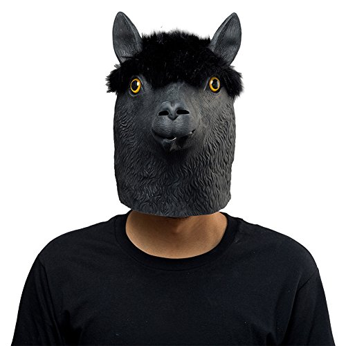 Halloween Animal Latex Masks Black Alpaca Sheep Full Face Mask Adult Cosplay -