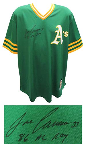 Jose Canseco Signed Oakland A's Green Throwback Majestic Replica Baseball Jersey w/86 AL ROY - Autographed MLB ()