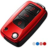Uxinuo Compatible with VW Volkswagen Key Fob Cover for Jetta Passat Golf Beetle Rabbit GTI CC EOS Smart Remote, Premium Soft TPU Anti-dust Full Protection Key Fob Case (3-Buttons,Red)