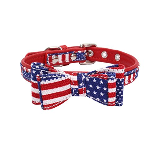 (Wakeu Pet Collar, Small Dog Collars Stripe Plaid with Bow Tie Necklace Puppy Cat (XS, USA Flag Jacquard))