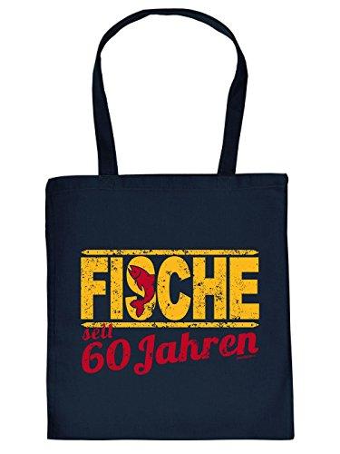 Geschenkidee zum 60. Geburtstag: Sternzeichen Unisex Jutetasche/ Einkaufstasche/ Stoffbeutel/ Fische seit 60 Jahren