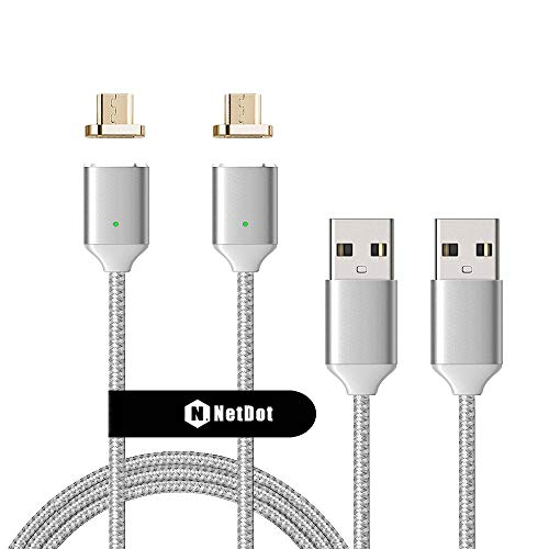 NetDot 2 Pack 2nd Generation 5ft USB Fast Charging Magnetic Micro USB Cable with LED Indicator Compatible with Android Device (5 feet/2 Silver)