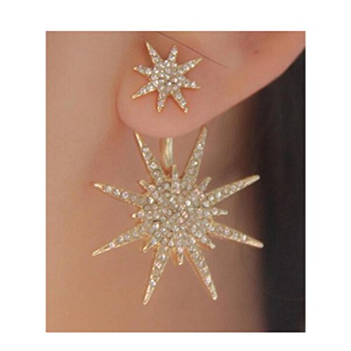 Lethez 1 PC Women Crystals Rhinestone Diamond Snowflake Drop Dangle Earrings Ear Studs Jewelry for Party Wedding (Gold) (Stud Turquoise Diamond)