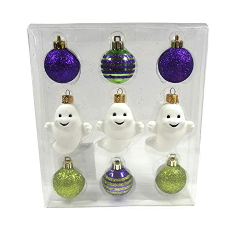 Darice Halloween Ghost Purple Green Striped Ball Plastic Mini Ornament Set of 9