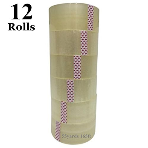 12 ROLLS CLEAR SHIPPING PACKING CARTON SEALING TAPE 2.0MIL 2