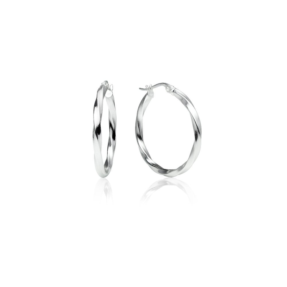LOVVE Sterling Silver High Polished Twist Round Click-Top 1 Inch Hoop Earrings, 2x25mm