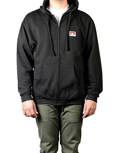 (Ben Davis Men's Hooded Zip Sweatshirt with Logo, Black)