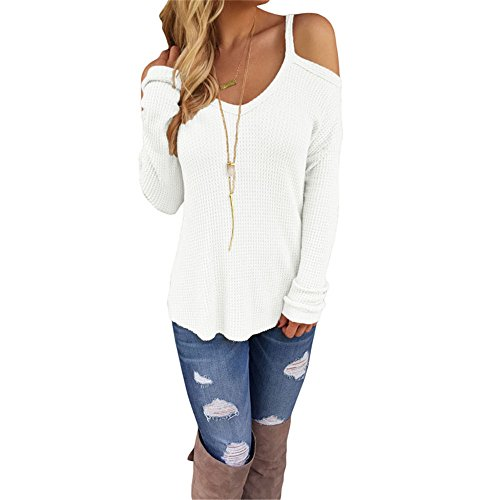 Eiffel Women's Cold Shoulder Knit Long Sleeves Pullover Sweater Tops Blouse Tunic (Small, White)