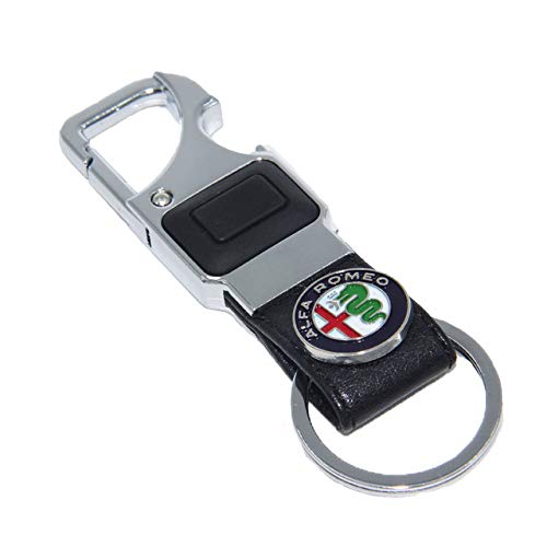 Key Rings ELT 1PCS Leather Key Chain for Car Metal LED Lighting Keyring Bottle Opener Key Ring for ALFA Romeo Mito GT 147 156 159 166 - (Color Name: Black)