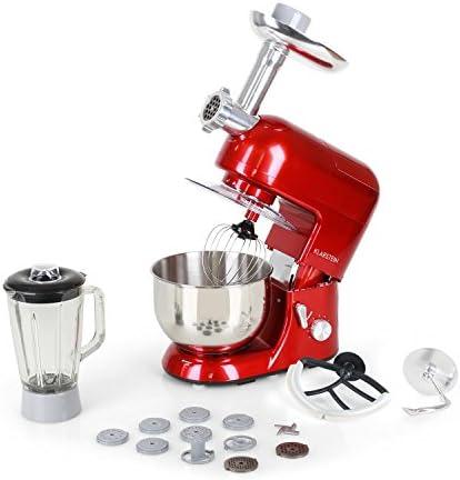 Klarstein Lucia Rossa – robot da cucina , mixer , impastatrice , 1200 W , 5 L , sistema planetario , tritacarne , ganci per pasta , shaker da 1,5 L , velocità regolabile , rosso