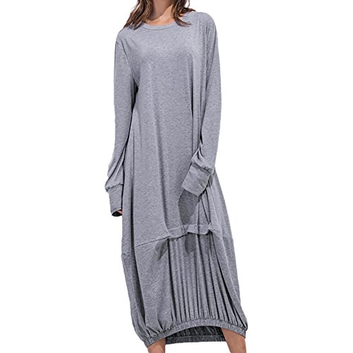 Xinantime Summer Women's Loose Casual Home Service O-Neck Pocket Wrinkled Hem Long Skirt Holiday Party Dress Gray