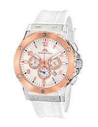 Porsamo Bleu Marcus Silicone Silver Tone, Rose Tone & White Men's Watch 653AMAR