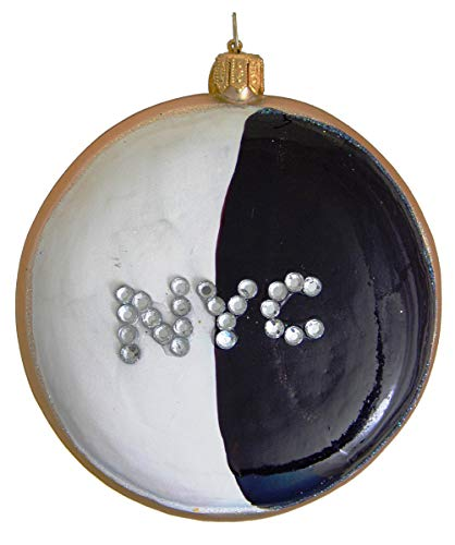 Landmark Creations' Black & White Cookie with NYC Crystal Detailing European Glass Christmas Ornament (Best Nyc Black And White Cookies)