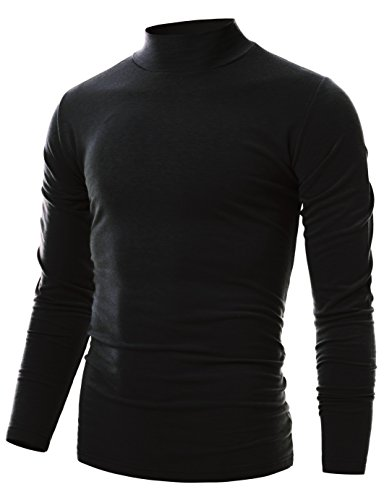 Ohoo Mens Slim Fit Soft Cotton Pullover Light Mock Turtleneck Neck/DCT020-BLACK-L ()