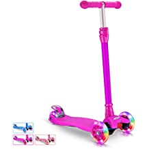 BELEEV Kick Scooter for Kids 3 Wheel Scooter, 4 Adjustable Height, Lean to Steer with LED Light Up Wheels for Children from 3 to 14 Years Old