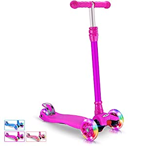 BELEEV Kick Scooter for Kids 3 Wheel Scooter, 4 Adjustable Height, Lean to Steer with PU LED Light Up Wheels for Children from 3 to 13 Years Old (Purple)