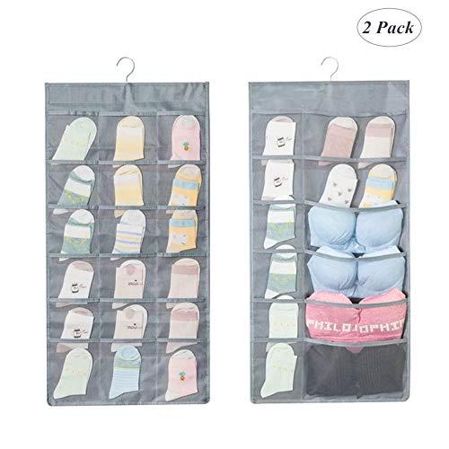 SHUTTLE GENIUS Bra Organizer Hanger, Dual-Sided Hanging Organizer with 30 Pockets for Bra Stockings Socks Underwear Closet Storage 2 Pack (Grey) (2 Sided Cabinet)