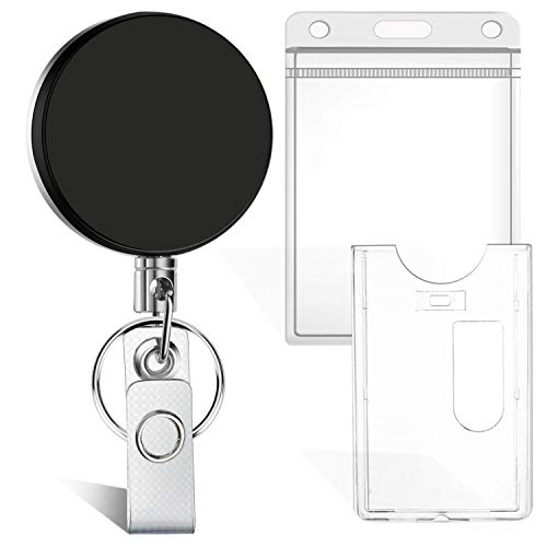 Selizo Retractable Badge Holder ID Badge Keycard Holder Retractable Key Reel with Keychain Ring Clip, Plastic ID Holder and Heavy Duty Name Card Holder for ID Card Key Card Work Badge
