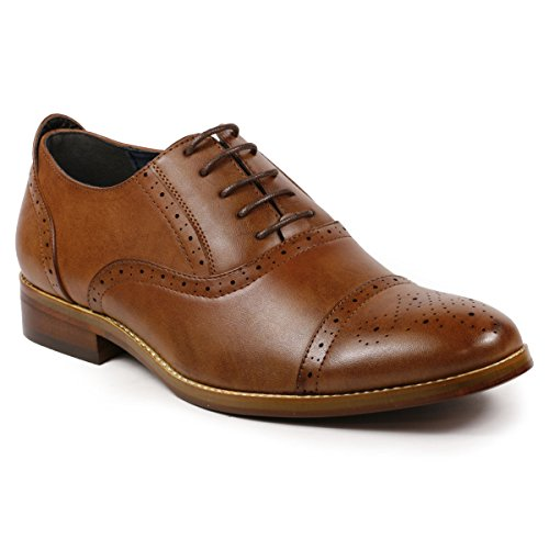 Metrocharm MC602 Men's Lace Up Cap Toe Perforated Classic Dress Shoe (13, Brown)