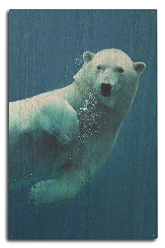 Polar Bear Wood - Lantern Press Polar Bear Swimming (10x15 Wood Wall Sign, Wall Decor Ready to Hang)