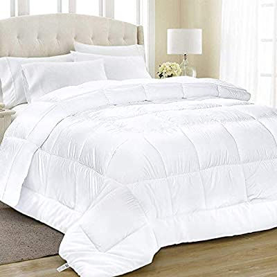 Equinox All-Season White Quilted Comforter - 88 x 88 Inches - Goose Down Alternative Queen Comforter - Duvet Insert Set - Machine Washable - Plush Microfiber Fill (350 GSM) - Like sleeping under a cloud; Cozy up with this luxurious down alternative comforter; Extremely soft 100% brushed microfiber cover with 6D hollow siliconized fiber filling lulls you into a tranquil restful sleep Superior comfort and design; The elegant square style stitching with piped edges keeps the siliconized gel fill from shifting, so you always have a plush, fluffy comforter that retains its shape; Clean crisp look complements any room décor or style Safe for those with sensitive skin; protects again mildew, dust mites; Super soft brushed microfiber cover won't irritate your sensitive skin - comforter-sets, bedroom-sheets-comforters, bedroom - 41WbUrJnZnL. SS400  -
