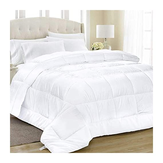 Equinox All-Season White Quilted Comforter - 88 x 88 Inches - Goose Down Alternative Queen Comforter - Duvet Insert Set - Machine Washable - Plush Microfiber Fill (350 GSM) - Like sleeping under a cloud; Cozy up with this luxurious down alternative comforter; Extremely soft 100% brushed microfiber cover with 6D hollow siliconized fiber filling lulls you into a tranquil restful sleep Superior comfort and design; The elegant square style stitching with piped edges keeps the siliconized gel fill from shifting, so you always have a plush, fluffy comforter that retains its shape; Clean crisp look complements any room décor or style Safe for those with sensitive skin; protects again mildew, dust mites; Super soft brushed microfiber cover won't irritate your sensitive skin - comforter-sets, bedroom-sheets-comforters, bedroom - 41WbUrJnZnL. SS570  -