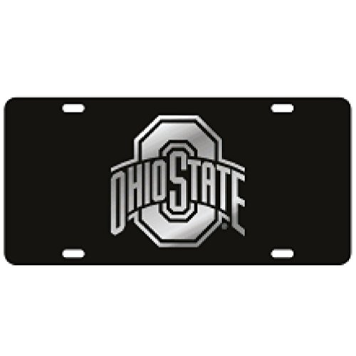 Ohio State Black Laser Cut License Plate - Mirror Logo