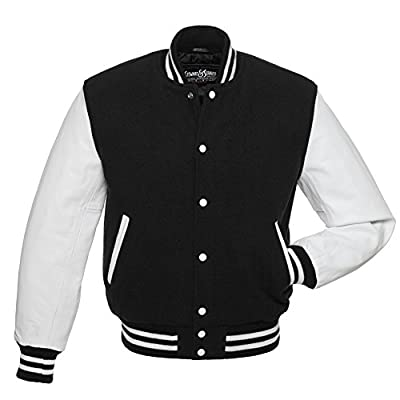 C101 Black Wool White Leather Varsity Jacket Letterman Jacket