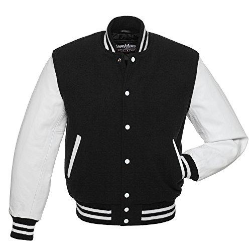 C101-2XL Black Wool White Leather Varsity Jacket Letterman Jacket