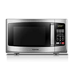 This Toshiba 0. 9 Cubic feet 900 watt black Stainless Steel microwave is the ideal size for smaller kitchens, dorms, or office break rooms. It offers ten power levels up to 900 watts, and features a digital display and LED interior lighting. ...