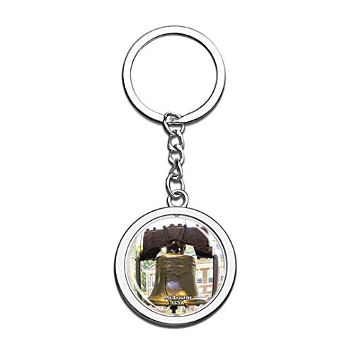Keychain Liberty Bell Memorial Museum Melbourne United States USA US Keychain Crystal Spinning Round Stainless Steel Keychains Souvenir Key Chain Ring
