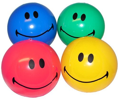 Inflatable Beachballs - 12 SMILE Happy Face inflate beach balls - assorted colors - small 6