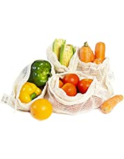 Organic Cotton Mesh Bags (Set of 4) Size 10 X 12 Inches for Grocery and Veggie Shopping Carry and Storage with Drawstring, GOTS Certfied Eco-Friendly Reusable Produce Bag