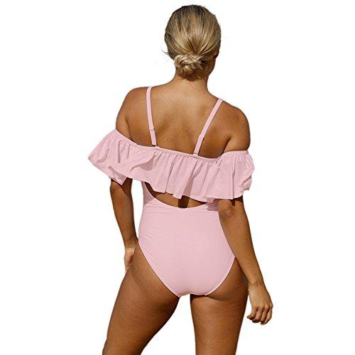 Da Pizzo l Sexy Spiaggia Off Piece Push spalla Bagno Di the One Balze Zhang1 L Donne Croce Swimsuits Costume Colletto Pink Un Monokini up Sabbia xISwZnUq