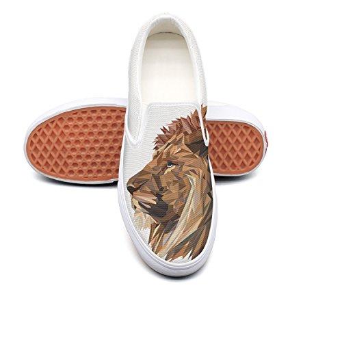 Fangtinge Man Cool Vector Lion Head Canvas Shoes Casual Loafers Shoes Sneaker by Fangtinge