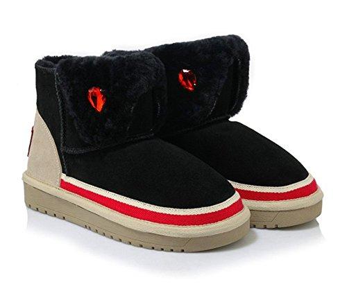 antiscivolo comode black caldo scarpe Snow Boots 874wxEqq0