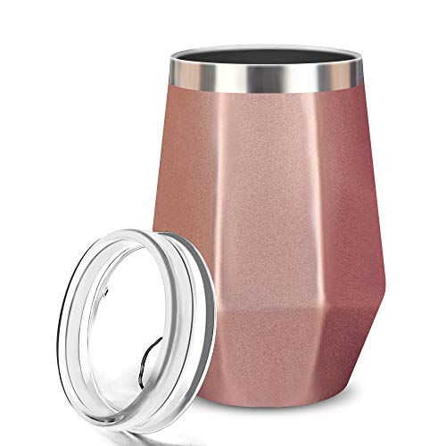 Wine Tumbler, FlatLED Insulated Wine Glass, Stainless Steel Stemless Vacuum Outdoor Wine Glasses with Lid, 12OZ, Unbreakable, Portable, Perfect for Home, Travel, Office or Camping, (Rose Gold)