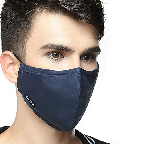 Reusable Mouth Mask with 2 Filters,Reusable Cotton Face Mask for Walking Camping Travel Men-Navy Blue