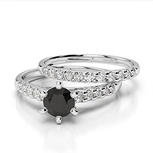 G-H/VS 1/2ct Coupe ronde sertie de diamants Noir ensemble et de fiançailles bague de fiançailles en platine 950Agdr-1153