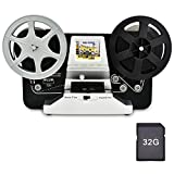 8mm Roll Film & Super8 Roll Film Reels(5'&3') Digital Video Scanner and Movie Digitizer with 2.4' LCD, Black (Film2Digital MovieMaker) with 32 GB SD Card