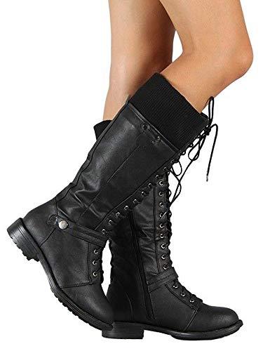 Syktkmx Womens Winter Lace Up Boots Leg Warmer Moto Riding Flat Low Heel Zip Mid Calf Boots