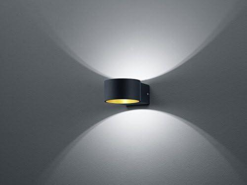 LED Wandleuchte mit Up and Down Light außen Schwarz innen Gold - im 2er Set - vielseitige Wandbeleuchtung