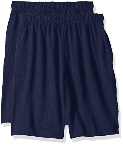 Hanes Big Boys' Jersey Short (Pack of 2), Navy, XS