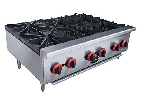 Heavy Duty 6 Burner, Gas, Countertop Hotplate - Burner Cooker Gas
