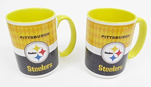 Ceramic coffee mugs jumbo 15 oz with full color wrap around team graphics, 2 pieces set. ()