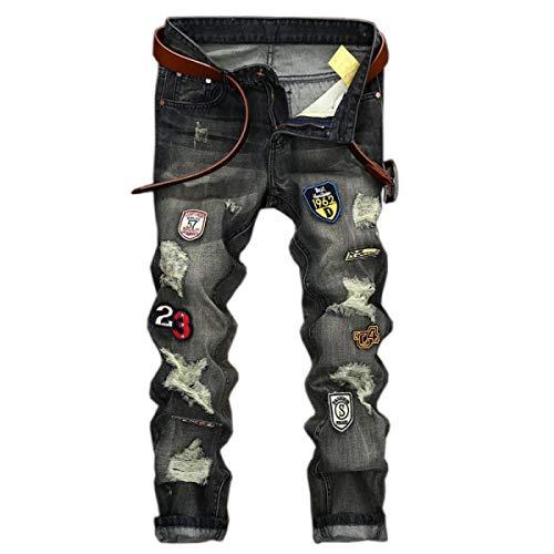 Senza Casual Retro Bassa Jeans Pantaloni Vita Grey Da Strappati Slim A Stretch Uomo Cinturino Fit qB7gHU