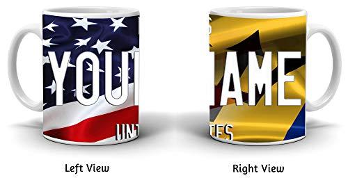 - BRGiftShop Customize Your Own Mixed USA and Barbados Flag 11oz Coffee Mug