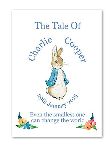 Personalised Baby Gift, Peter Rabbit Theme, Boy or Girl Print Perfect Christening Baptism Gift - A5 OR A4 UNFRAMED